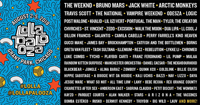 Lollapalooza 2018 features The Weeknd, Bruno Mars, Jack White