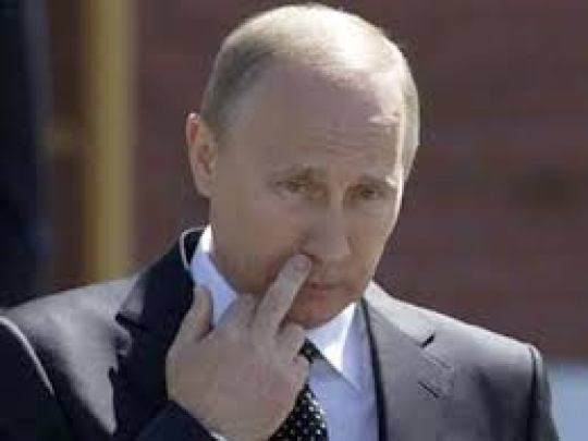 Putin picture middle finger