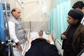 Rajnath visits injured DIG in AIIMS