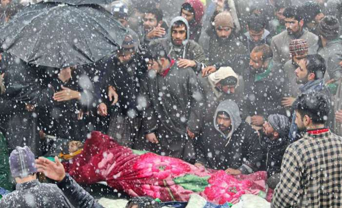 Thousands participate in multiple funeral prayers of slain Lashkar commander in Pulwama