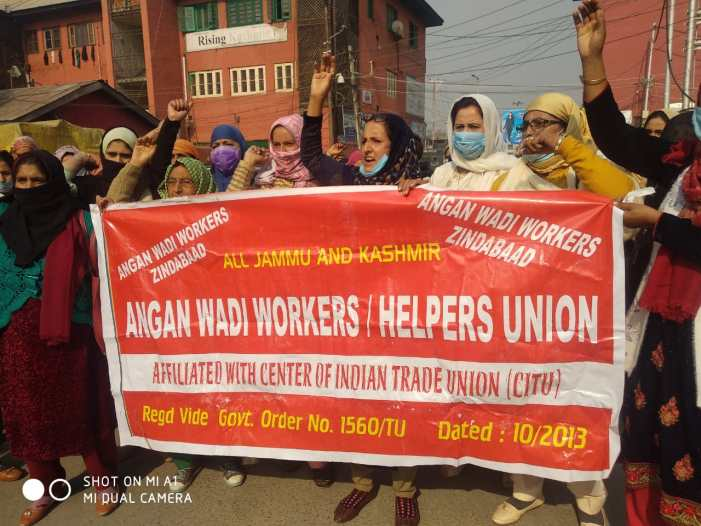 Anganwadi workers stages protest, demand release of salary, hike in honorarium