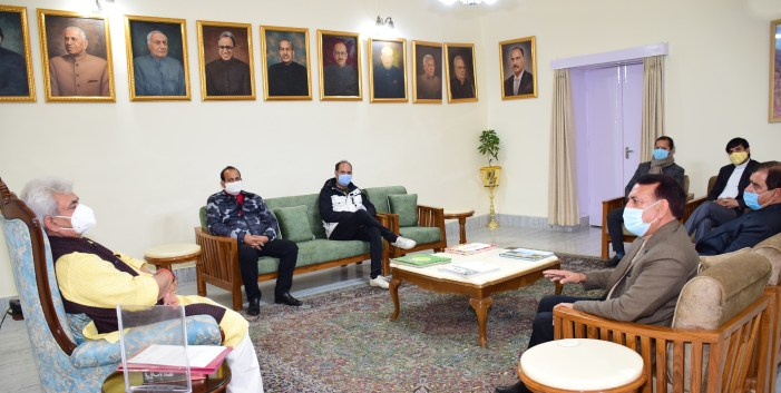 Advocate General of J&K; Law Officers; former Minister call on Lt Governor