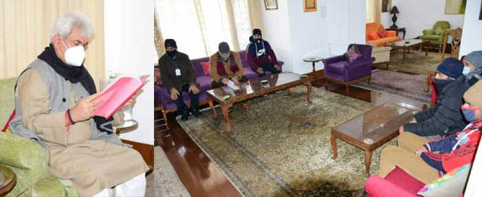 BDC Chairman Keran, JD(U) Prez, Chairman J&K RTI Movement, several delegations call on Lt Governor