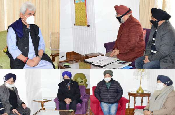 Members of All Parties Sikh Coordination Committee, President JKWP call on Lt Governor at Srinagar