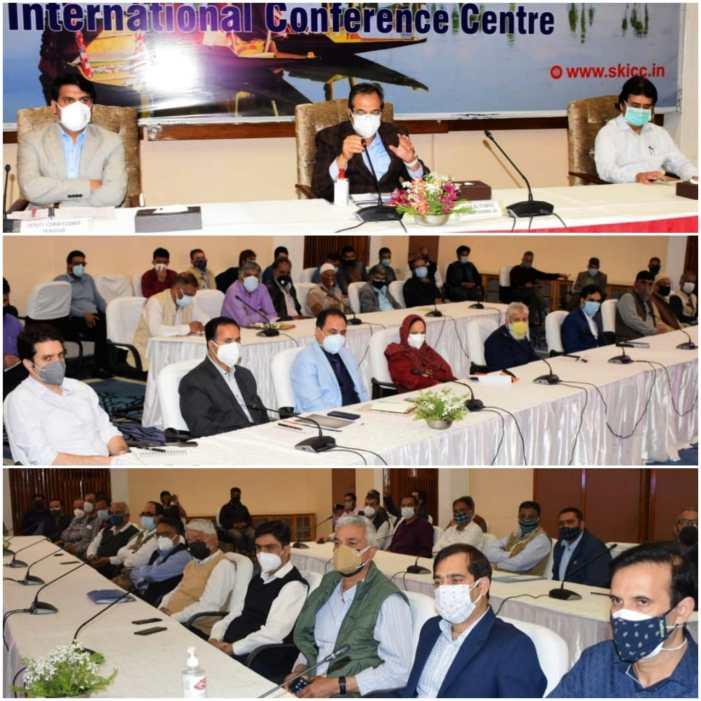 Advisor Baseer Khan holdsinteraction with stakeholders ofSrinagar, Budgam at SKICC