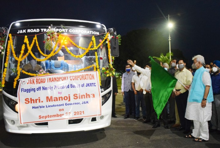 Lt Governor flags off first lot of 95 newly procured Buses of J&K Road Transport Corporation