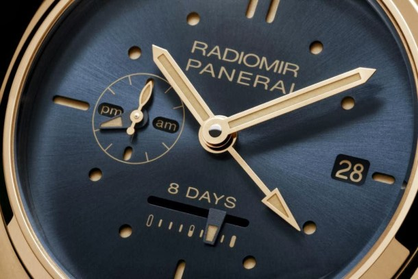PANERAI+Radiomir+8+Days+GMT+Oro+Rosso+–+45mm+dial