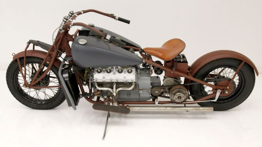 1938 Indian Motorcycle With Ford Flathead V8