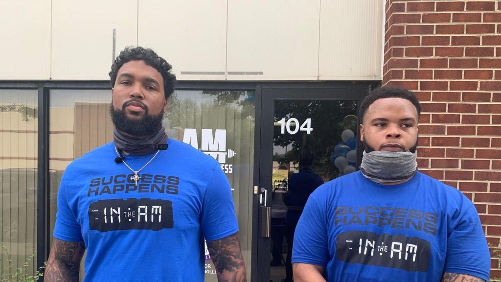 NFL veteran Marcus Smith (left) and Aaron Wallace, former defensive lineman at North Carolina Central University, opened A&M Sports and Fitness on May 22, 2021, in Upper Marlboro, Maryland. (Hamil Harris/Zenger News)
