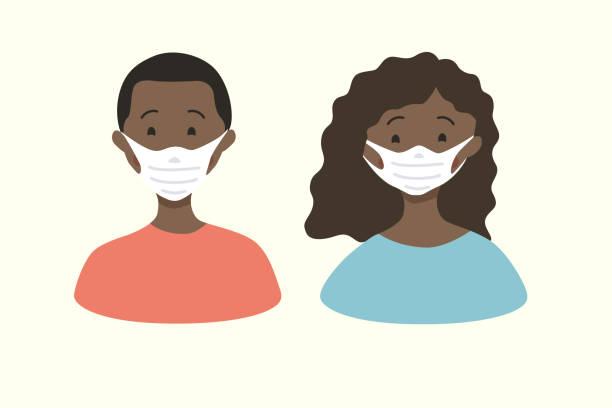 Vector illustration of a happy white man and woman wearing protective medical masks. Protection of spread of the coronavirus Covid-19