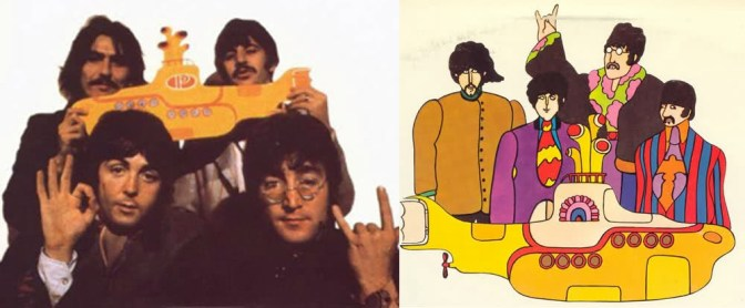 the beatles illuminati puppets - satanist hand signs - submarine