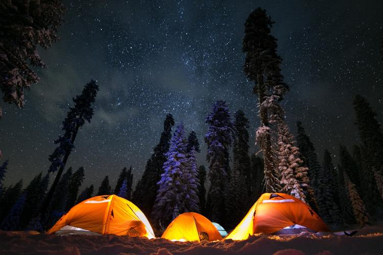 Tents in the snow in Sierra National Forest