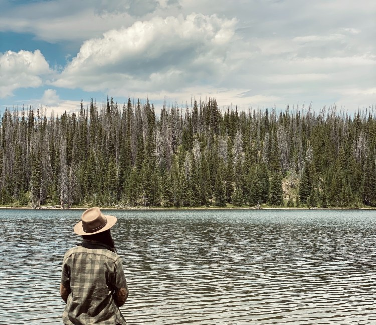 A hiker looking at a lake in Routt National Forest