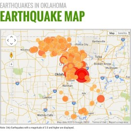 Oklahoma earthquakes of magnitude 3.0 or higher since fracking began in 2010.  Image courtesy of http://earthquakes.ok.gov/what-we-know/earthquake-map/
