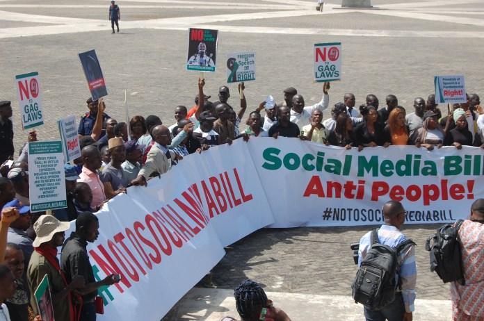 Photo: Group protests anti social media bill
