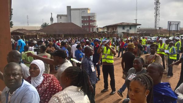 Voters waiting for accreditation in Edo State on Wednesday. Photo: Osagie Otabor