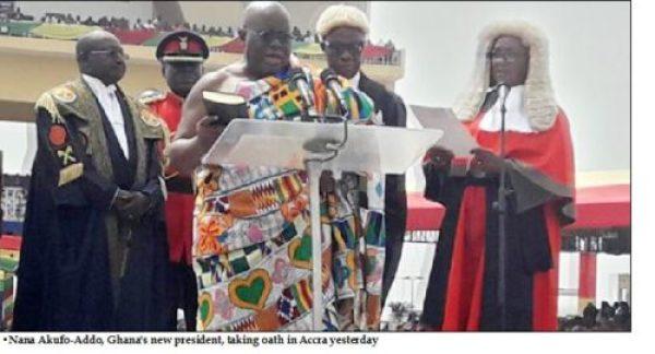 Akufo-Addo takes oath as Ghana's new president
