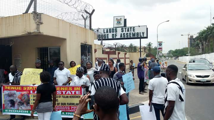 Image result for Breaking: Group storms Lagos Assembly, protests planned impeachment
