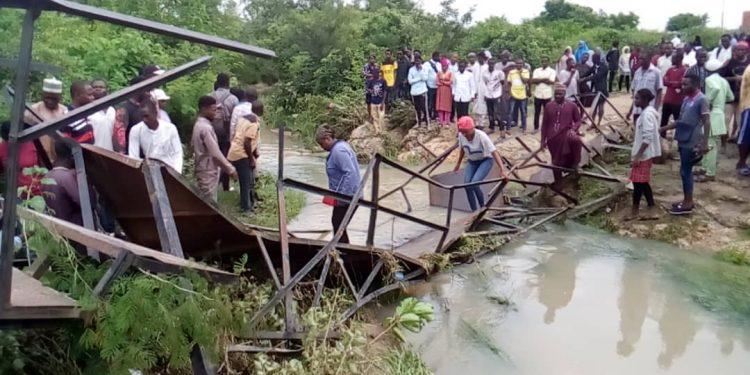 Bridge collapsed in Bauchi