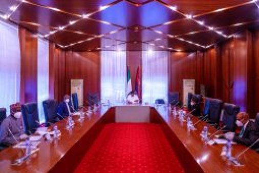 [object object] PHOTOS: Buhari meets COVID-19 Presidential Committee PRESIDENT BUHARI METS CORONAVIRUS COMMITTEE ON THE ECONOMY A 255x170