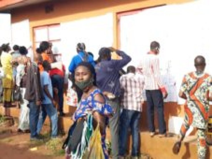 Voters queuing without observing social distancing.Voters queuing without observing social distancing.