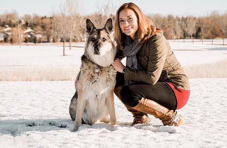 Dr. Katie with German Shepherd
