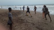 Playing soccer football at Kokrobite Beach in Accra Ghana with Zack Neher, Meredith Leung, and Cal Larnerd and Bianca Dukesherer Sarah Parsons and Haley Collins on Semester at Sea Photo Credit Michael Collett