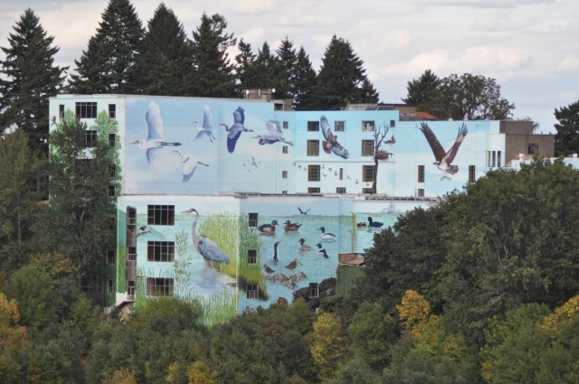Portland Mausoleum Mural. North America's largest mural at 55,000 square feet,overlooking Oaks Bottom Preserve in Portland, Oregon. Commissioned and photographed by Mike Houck.