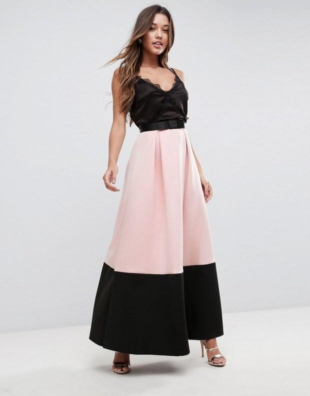 asos block colour skirt