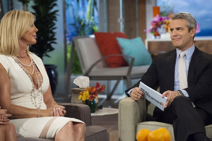 """THE REAL HOUSEWIVES OF ORANGE COUNTY -- """"Reunion"""" Episode 1020 -- Pictured: (l-r) Vicki Gunvalson, Andy Cohen -- (Photo by: Nicole Weingart/Bravo)"""