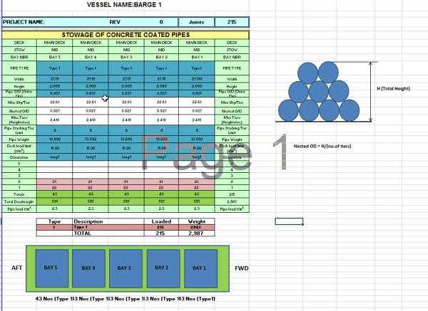 pipe stowage plan template
