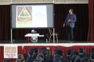 Simon Singh Delivers A Lecture For Newham Collegiate Sixth Form Centre (The NCS) Maths Students