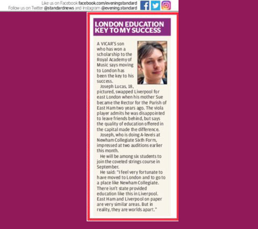 Newham Collegiate Sixth Form Centre In The Evening Standard - Joe Lucas Key To My Success
