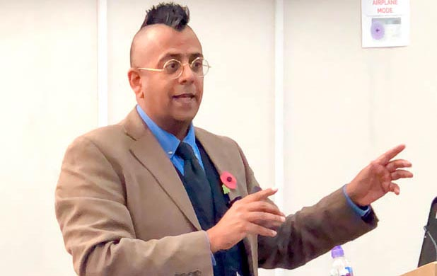 Simon Singh Delivering A Lecture To Students At Newham Collegiate Sixth Form Centre (The NCS)