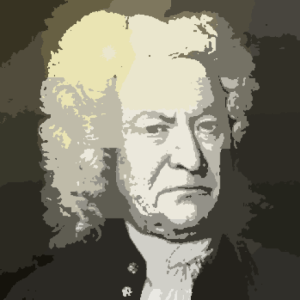 J.S. Bach in gray tones with yellow hightlights