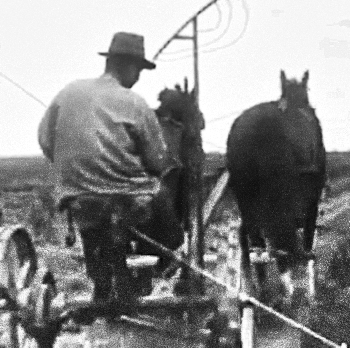Black and white farmer rides horse-drawn plow in still from old film