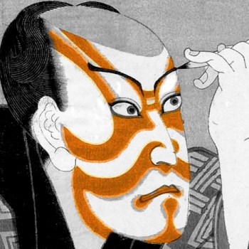 Kabuki actor paints face