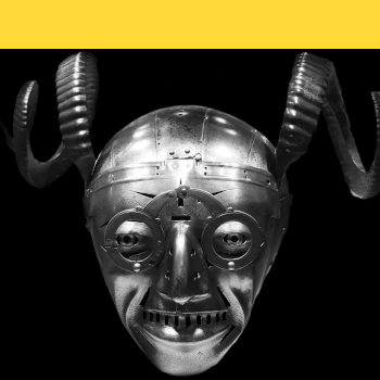 Metal knight helmet and mask with horns