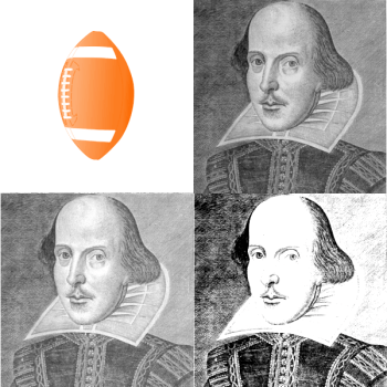 An orange football in a grid of black-and-white Shakespeare portraits
