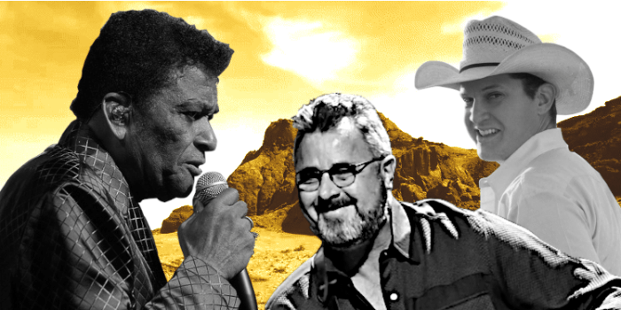 Charley Pride, Vince Gill, and Jon Pardi in a montage with a desert backdrop