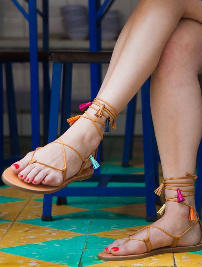 diy tassel wrap sandals + giveaway!