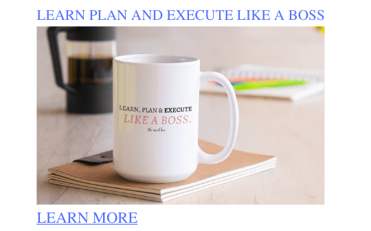 learn plan and execute like a boss mug learn more