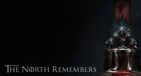 """Image of a wolf-like creature in armor with a sword on its lap sitting on an iron throne. The text says, """"The North Remembers."""""""