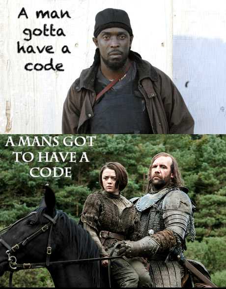 """Two split images. The one of top is Omar, a character from the Wire who says, """"A man gotta have a code."""" Below is the image of a man on a horse with a girl with the quote, """"A Man's got to have a code."""""""