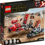 """LEGO® Star Wars™ 75250 – Pasaana Speeder Chase - $39.99 Get the action going with 2 exciting LEGO® Star Wars™ vehicles! Race with Rey and BB-8 across distant planets on their transport speeder. Just like the one in Star Wars: The Rise of Skywalker, this speeder looks like it hovers, too! But look out, the First Order is in hot pursuit on their treadspeeder – and a Jet Trooper is swooping in from above. Time to grab your Lightsaber and help Rey teach those evil troopers a lesson they'll never forget! Comes with exciting LEGO® Star Wars™ characters including 3 minifigures – Rey, First Order Jet Trooper and a First Order Treadspeeder Driver – plus a BB-8 droid LEGO figure. Transport speeder has space for Rey and BB-8 and features a transparent stand for an authentic 'hovering' look. Treadspeeder has a seat for a trooper plus a rubber tank track and 2 side-mounted stud shooters for exciting role-play action. Molded rocket element and Jet Trooper rocket elements are new for October 2019. Weapons include Rey's blue Lightsaber, the Treadspeeder Driver's blaster pistol and the Jet Trooper's blaster. Recreate exciting moments from the Star Wars: The Rise of Skywalker movie with this fun LEGO® Star Wars™ kids' toy. This set makes a great birthday gift, Christmas present or just a Star Wars™ gift for any occasion. Transport speeder measures over 3"""" (10cm) high, 7"""" (19cm) long and 4"""" (11cm) wide. Treadspeeder measures over 1"""" (4cm) high, 5"""" (15cm) long and 2"""" (6cm) wide. Available October 4"""