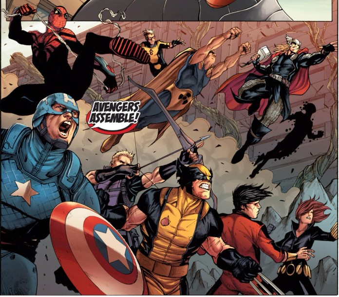 Group shot No.5683...HEY! When did Spider-Man find the time to change his costume!