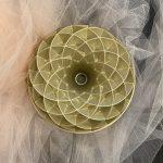 gold spiraled bundt cake pan
