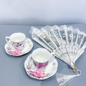 English tea cups and lace fans to cool yourself during the steamy scenes!