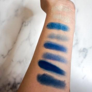 Melt Cosmetics Blueprint Eyeshadow Stack Review - Blue Shades - Finger & Brush Swatches