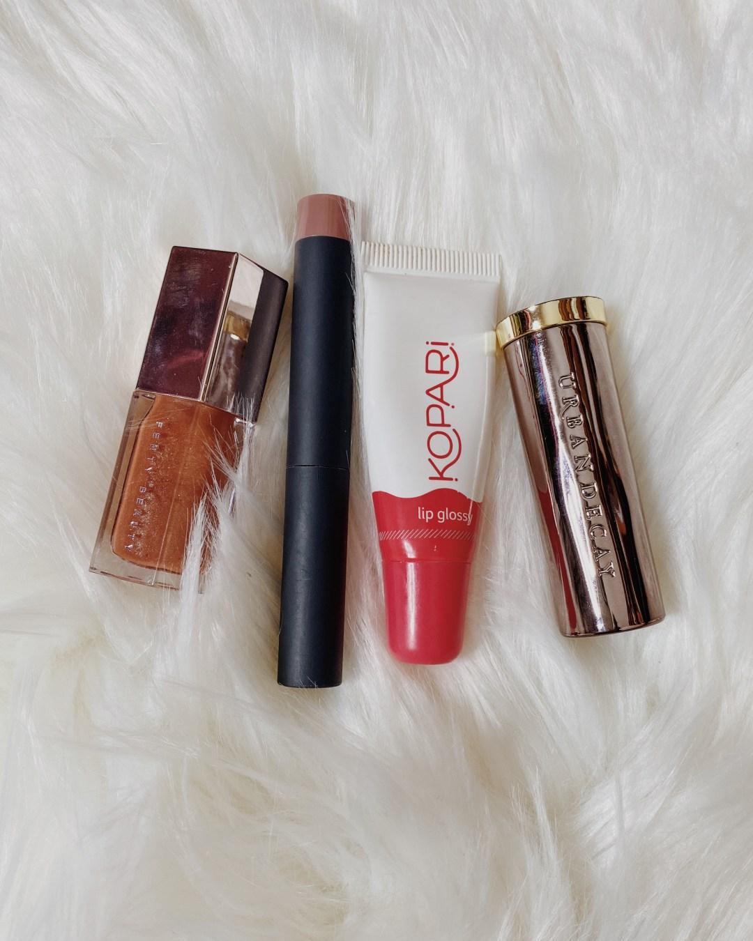 20 in 2020 Project Pan Introduction   Lip Products   Fenty Beauty Gloss Bomb   Bite Beauty Glace   Kopari Coconut Lip Glossy   Urban Decay Liar Vice Lipstick